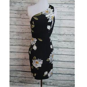 Lulu's Black Floral Print One Shoulder Dress